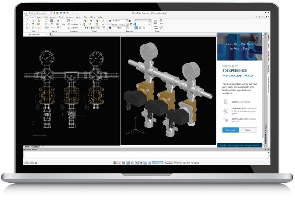DraftSight(ドラフトサイト)操作画面